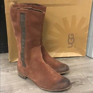 Authentic UGG suede boots , mid length size 9